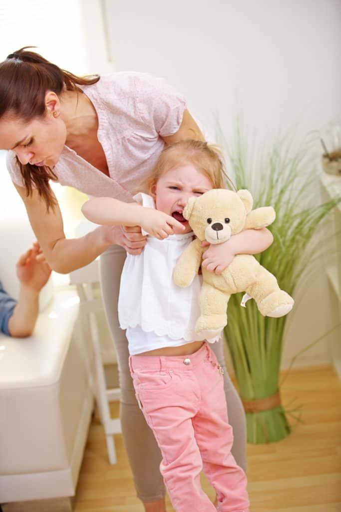 Toddler hitting, biting and having a tantrum
